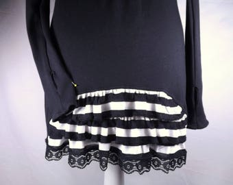 Black dress understated chic sailor lace sleeves fingerless gloves