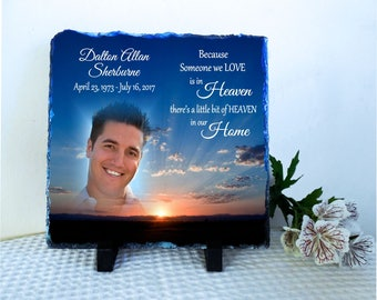 Customized Memorial Photo Stone Slate, Personalized Memorial gift