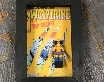 Wolverine X-Men Comic Lego Figurine Wall Display Picture Frame Toy Art