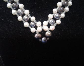 "16.5"" Natural White and Black Pearl and Aquamarine Beaded Necklace, #476"