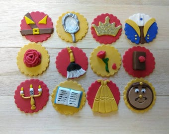 Beauty and the beast cupcakes, beauty and the beast fondant, beauty and the beast party, princess, princess party, birthday party