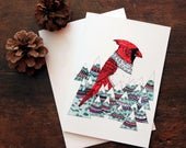 Holiday Cardinal Illustrated Cards/ A7 Cards