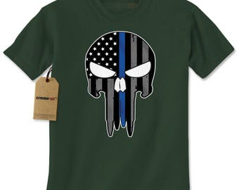 Police Thin Blue Line Skull American Flag - Support Police Departments Mens T-shirt