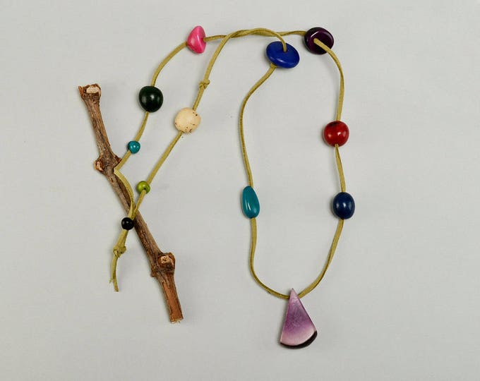 Featured listing image: Long tagua necklace, free shipping necklace, nature inspired jewelry, multicolor jewelry, boho choker, carved beads necklace, gift under 30