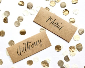 Kraft brown name cards, calligraphy, wedding, table decor