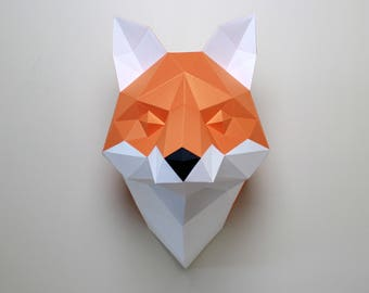 Cecilia the Fox | Paper Fox, DIY Fox, Papercraft Kit, Origami Fox, DIY Kit, Fox Sculpture, 3D papercraft Fox, Low poly Fox, paper animal