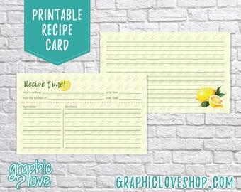 Printable Watercolor Lemon 3x5 Double Sided Recipe Card   Wedding, Bridal Shower Gift  Digital JPG Files, Instant Dowload, File NOT Editable