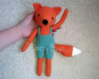 CUSTOM FOX wolf Handmade Toy Crochet Knit  CE Baby Girl Boy Birthday Gift Birth Dress Dungarees Doll