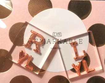 Custom X-Ray markers with rose gold letters and initials