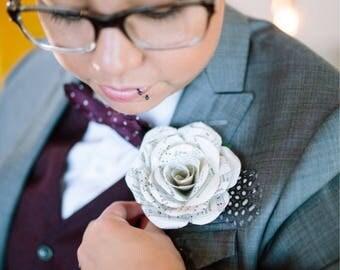 Music Sheet Boutonniere, Music Wedding, Music Boutonniere, Paper Boutonniere, Paper Flower Boutonniere, Book Wedding, Literary Wedding