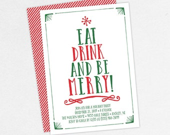 Holiday Party Invitations, Adult Christmas Party Invitations, Christmas Party Invitations, Eat Drink and Be Merry Invitations, Invite PDF