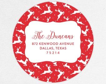 24 HOUR DIGTIAL FILE, Reindeer Return Address Labels, Christmas Return Address Label, Holiday Return Address Label, Printable Address Label