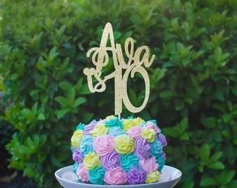 Any Name and Age Cake topper, birthday cake topper, custom cake topper