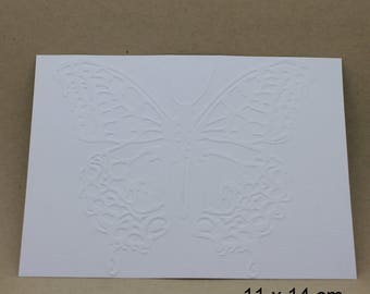 5 embossed cards - embossed Butterfly