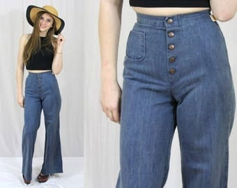 Vintage 70s HIGH Waist Wide Leg Bell Bottom Hippie Boho RETRO Denim Jeans 24x33