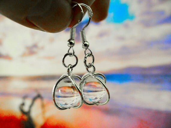 Quartz Gypsy Magic Floating Crystal Ball Sterling Silver .925 Earrings Clear Crystal Boho Hippie Wicca Pagan Full Moon Earring Cage Harmony