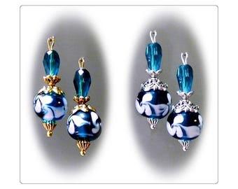Teal blue green Lampwork  petite drop earrings, clip on or pierced