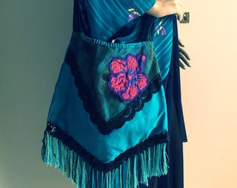Boho Bag, Handmade Festival Hand Bag with Fringing, Upcycled Bag, Eco Bag, Funky Flower Bohemian Bag, Boho Style