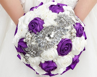 Purple & White Wedding Bouquet,Brooch Bouquet,Crystal Bridesmaids Bouquet,Bridal Bouquet,Keepsake Bouquet,Jewelry Bouquet