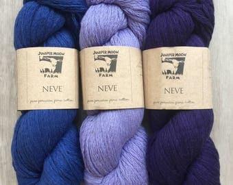 Juniper Moon Farm NEVE 100% Peruvian PIMA Cotton 9.99+1.50ea Ship 220yd 100g Mariner 16 Blue, Mazzy 4 Violet, Purple Passion 37. MSRP 13.95