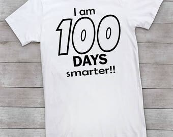 100 days smarter. 100 days of school. 100th day of schoolschool shirt. shirt. grade shirt. 100 days. 100th day shirt. one hundred days.