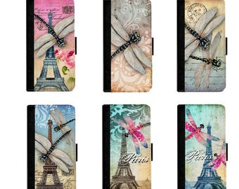 Select Dragonfly on Leather Wallet Case Cover for iPhone 7/7+, 6/6+, 5/5s, 4/4s cover and Galaxy Note 5,4,3,2,S7, S6,S5,S4 Cellphone Cover
