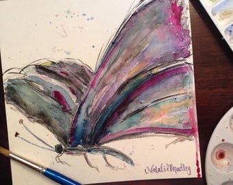 8x8 Abstract Watercolor Butterfly Painting Print