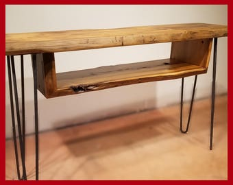 Reclaimed Wood Console Table, Table with Shelf, Cocktail Table, Hairpin Legs, Narrow Table, Urban Farmhouse,Entryway table, Natural Edge