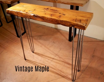 Hairpin Leg Table, Reclaimed Wood Console Table, Narrow Sofa Table, Entry Table, Rustic Table, Natural edge Table, Sideboard Table, Wine Bar