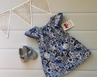 Girls Dress, Flutter Sleeve Size 1, Denim, Blue, Floral, boho, handmade girls dress, toddler dress, summer dress, party dress, ready to shi