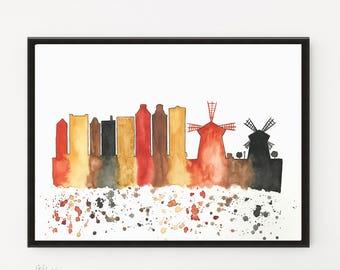 Amsterdam Skyline, Original Watercolor painting, Illustration, Printable art, Travel Illustrator, Architecture Print, Wall art Home Decor,