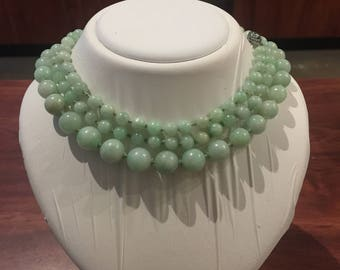 An Opera Length 840mm Type A Green Jadeite Bead Necklace