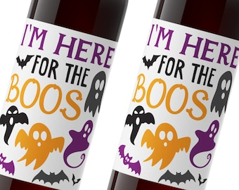 halloween wine label / custom wine label / i'm just here for the boos / halloween party favor / WLH-15