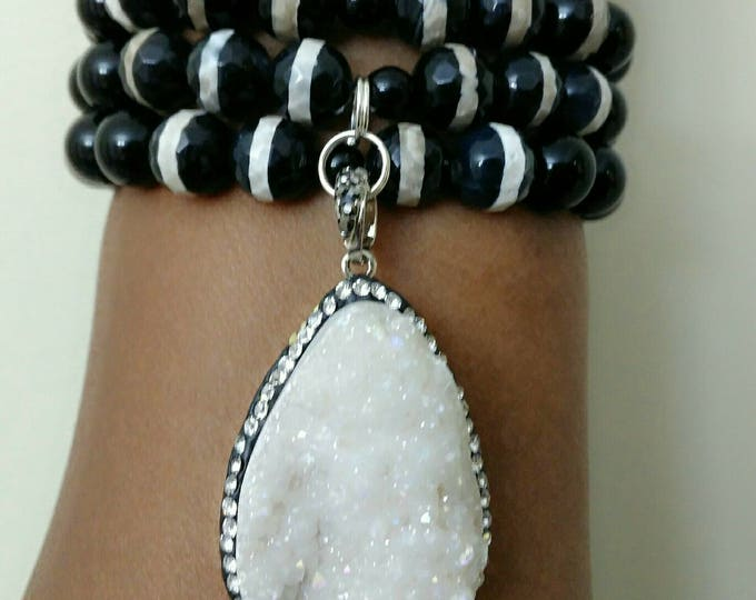 Designer Inspired Black Jade & Agate Beaded bracelet. With White Stone pendant, Valentine's gifts, birthday gifts, anniversary gifts