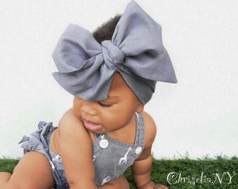 Grey Headwrap, head wrap,  Fabric Head Wrap, Baby headwrap, Newborn Head Wraps, Toddler Headwraps, grey headband; gray headwrap