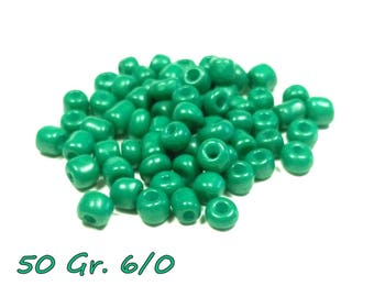 50gr of large 6/0 seed beads 4 mm Green