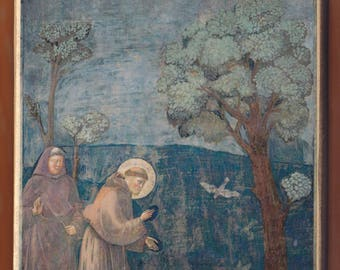 Giotto di Bondone(Saint Francis of Assisi preacing to the birds1297-99).FREE SHIPPING