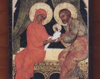 Saints Ioakim and Anna with Panagia. Christian orthodox icon.FREE SHIPPING