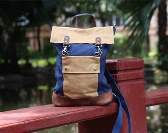 Waxed Leather Canvas Backpack Women Handmade Bags, Hiking Travel Backpack, Canvas Rucksack Women,School Backpack Women