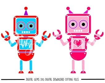 Robot svg / dxf / eps / png files. Digital download. Compatible with Cricut and Silhouette machines. Small commercial use ok
