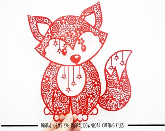 Zentangle Fox paper cut svg / dxf / eps / files and pdf / png printable templates for hand cutting. Download. Small commercial use ok