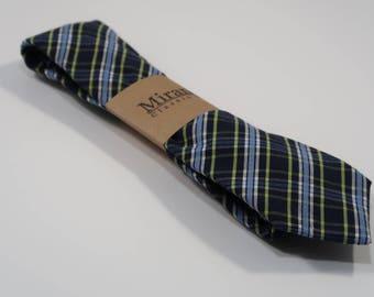 Soft Cotton Green Blue Plaid Necktie