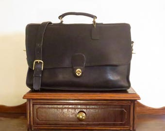 Coach Spencer Brief In Black Leather With Brass Hardware Style No. 5278- Made In United States- VGC Rare Style