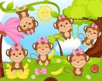 80% OFF SALE Monkey clipart, Monkey girl clipart, Monkey baby shower, Safari animal clipart - CA414