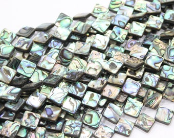 """14mm 16mm abalone shell square beads 15"""" strand"""