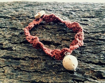 Bordeaux crochet bracelet with cork ball-jewelry Collection Ball