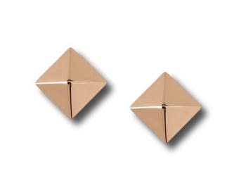 "AF Collection ""Pyramid"" Stud Earrings, Rose Gold."