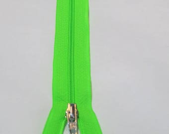 Zipper Neon Green 30 cm spiral