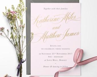 Romance Gold Foil Wedding Invitation