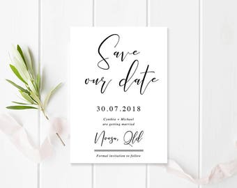 Black and White Wedding Save the Date, Printable or Professionally Printed, Modern Handwritten Script, Free Colour Changes, Cynthia Suite